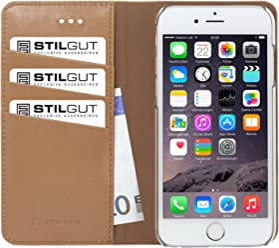 StilGut Talis collection italienne, housse portefeuille en cuir pour iPhone 6 & iPhone 6s (4.7 pouces), beige