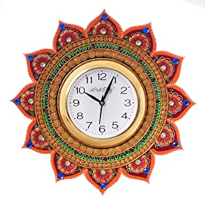 eCraftIndia Royal and Elegant Decorative Wooden and Papier-Mache Wall Clock (35 cm x 2.5 cm x 35 cm)