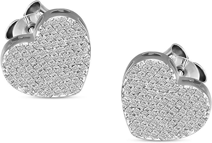 .925 Sterling Silver Round Pave Diamond Ladies Mini Heart Stud Earrings 0.05 Ct.