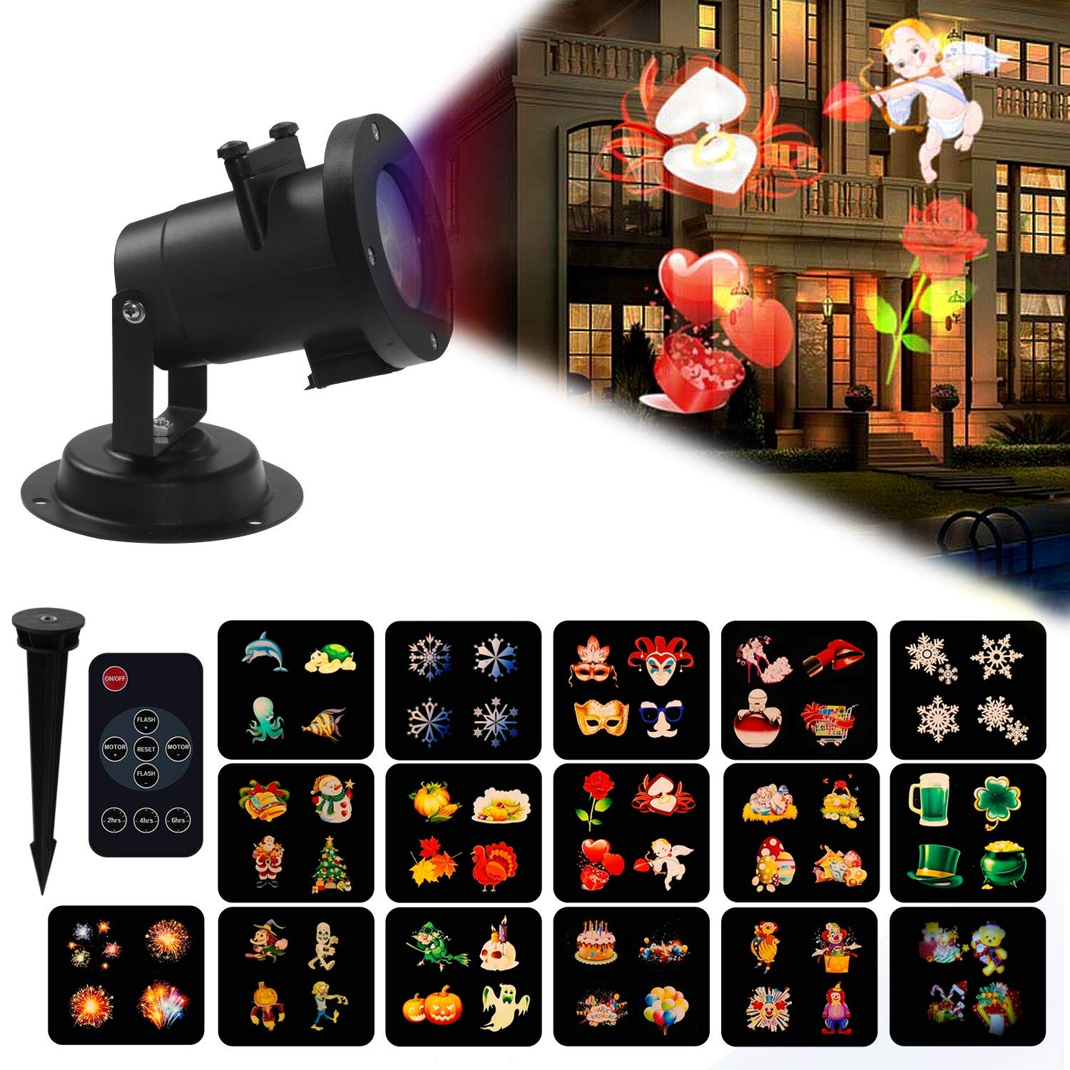Projector Lamp 16 Slides Projection Light with Remote Control, Moving LED Patterns, Waterproof Decorative Outdoor&Indoor Lighting Birthday, Party