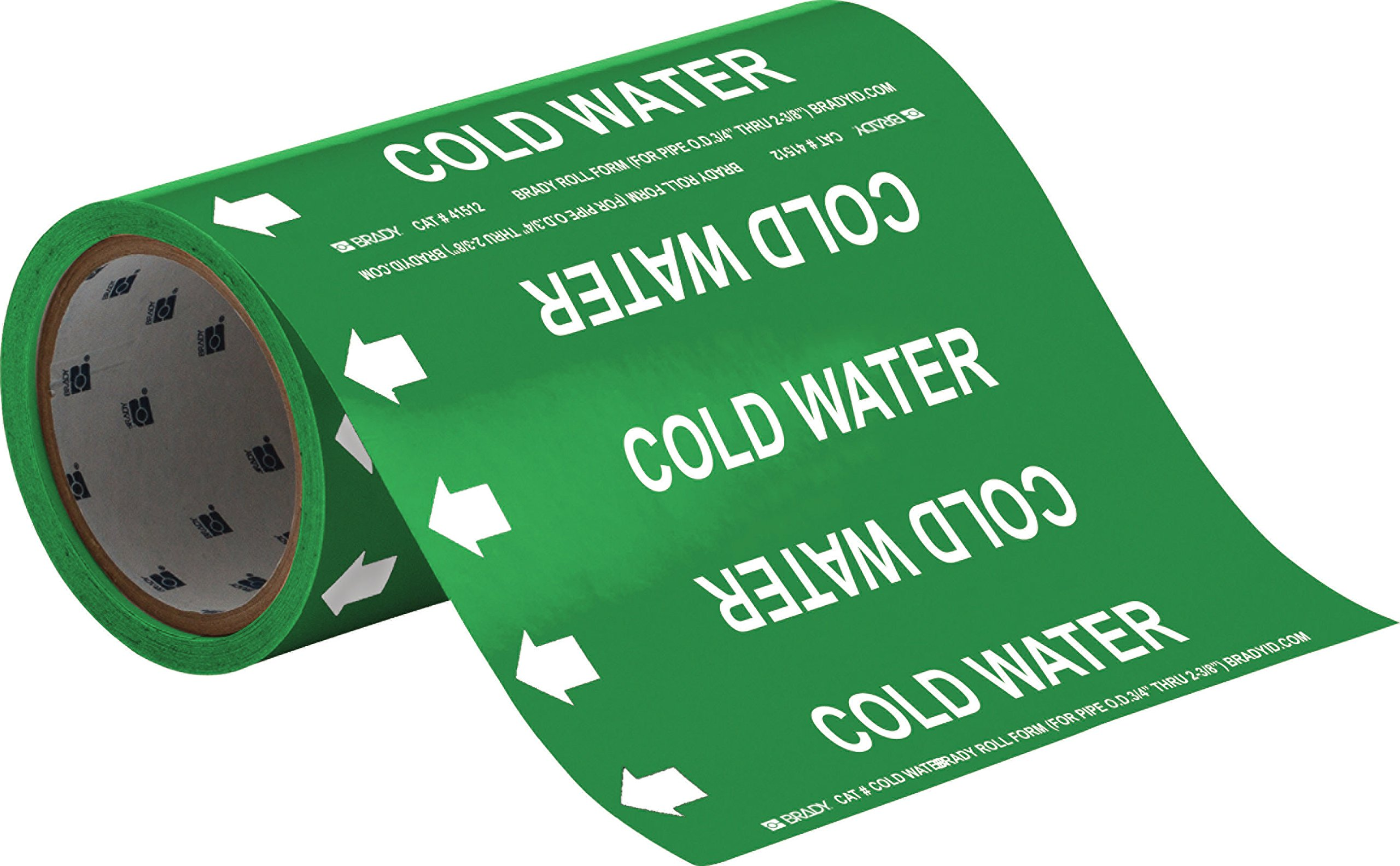 Brady 41512 Roll Form Pipe Markers, B-946, 8'' X 30', White On Green Pressure Sensitive Vinyl, Legend ''Cold Water''
