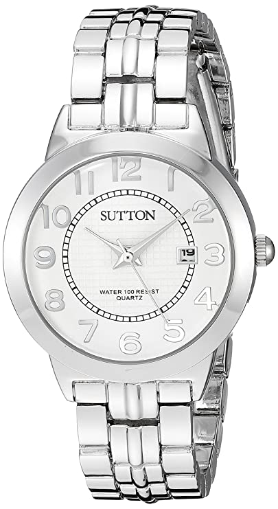Sutton by Armitron Women's SU/1003SVSV Date Function Easy to Read Silver-Tone Bracelet Watch