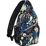 MOSISO Sling Backpack,Travel Hiking Daypack Pattern Rope Crossbody Shoulder Bag, Navy Blue Base Bohemian