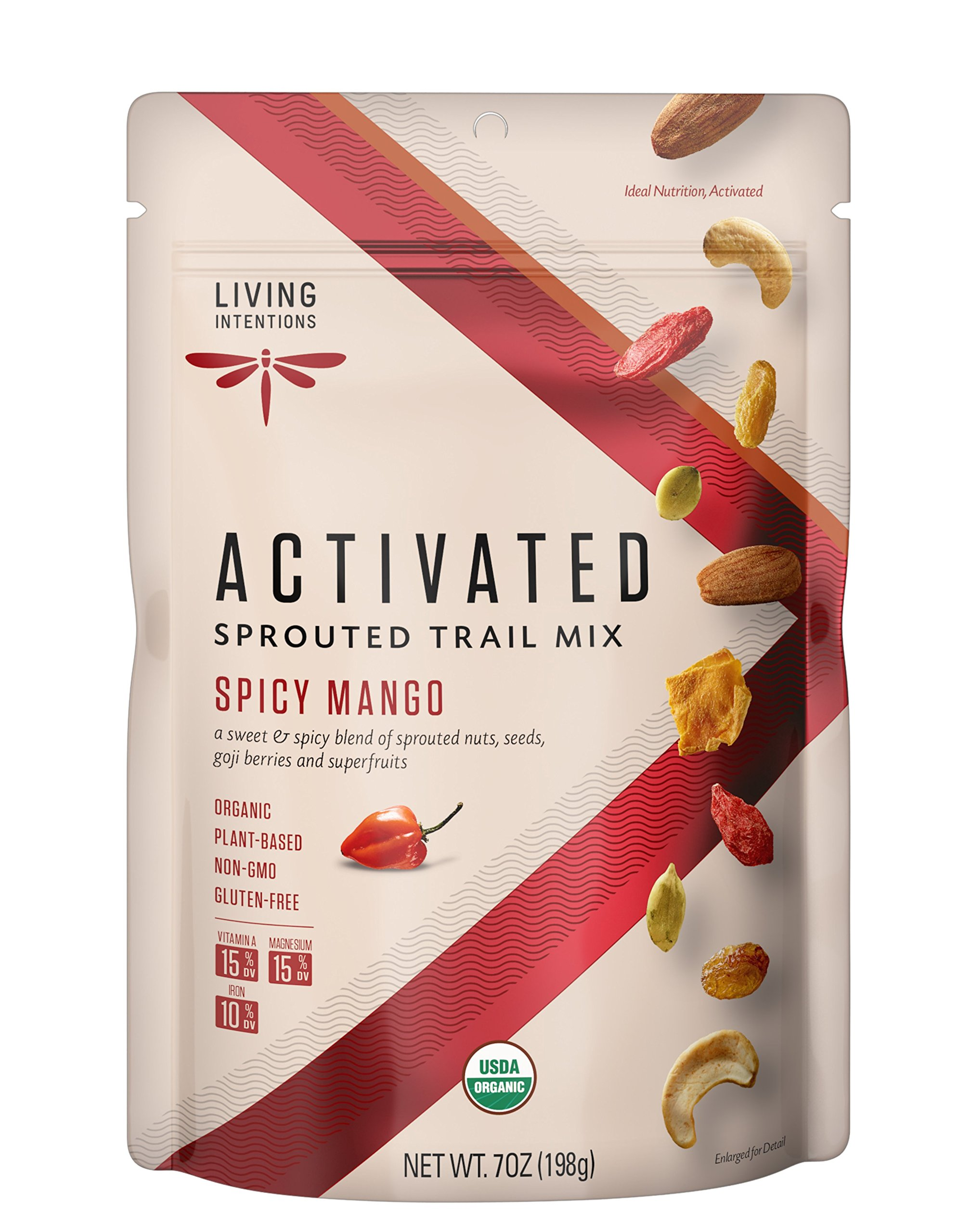 Living Intentions Activated Sprouted Trail Mix, Gluten Free, Vegan, Organic, Paleo, Spicy Mango, 7 Ounce
