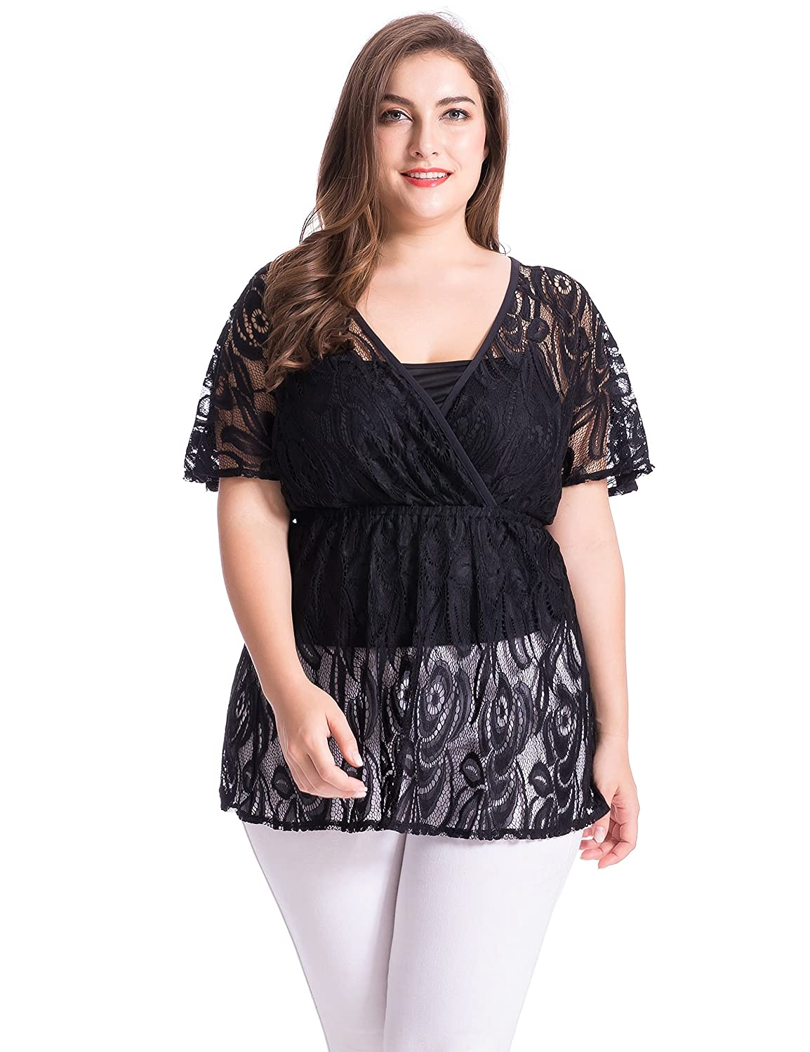 e29ede65d018b Chicwe Women s Plus Size Floral Lace Top Blouse with Jersey Cami at Amazon  Women s Clothing store