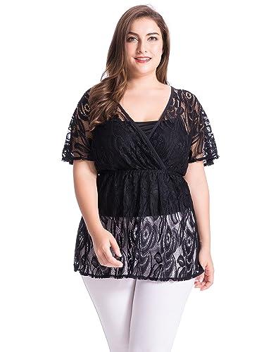 Chicwe Blusas Tops Tallas Grandes Mujeres Camiseta Jersey con Encaje Floral 1X-4X