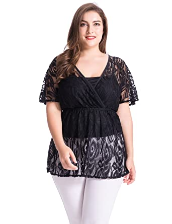 853078419c0 Chicwe Women s Plus Size Floral Lace Top Blouse with Jersey Cami 1X Black