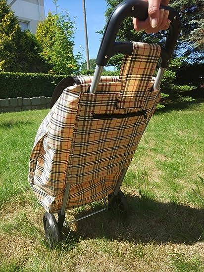 Amazing Girl Carro de la Compra Carrito de la Compra con Desmontable Funda la Compra Roller, Beige, 42 L: Amazon.es: Hogar