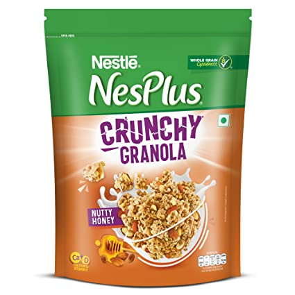 Nestl� NesPlus Breakfast Cereal - Crunchy Granola with Nutty Honey, 475g Pouch