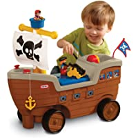 Little Tikes 2-in-1 Pirate Ship Ride-On Toy and Playset - Kids Ride-On Boat with Wheels, Under Seat Storage and Playset…