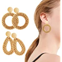 MALLMALL6 2Pcs Rattan Straw Dangle Earrings Set Lightweight Handmade Wicker Woven Geometric Drop Stud Earrings Hoop All-Match Round Ornament Earrings for Women