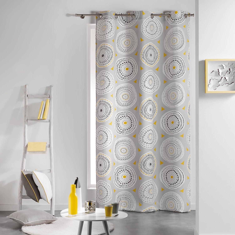 COTON D'INTERIEUR Cotone di interno da discoteca Tenda a occhielli, Cotone, grigio/giallo, 140 x 240 cm L3C 1606044