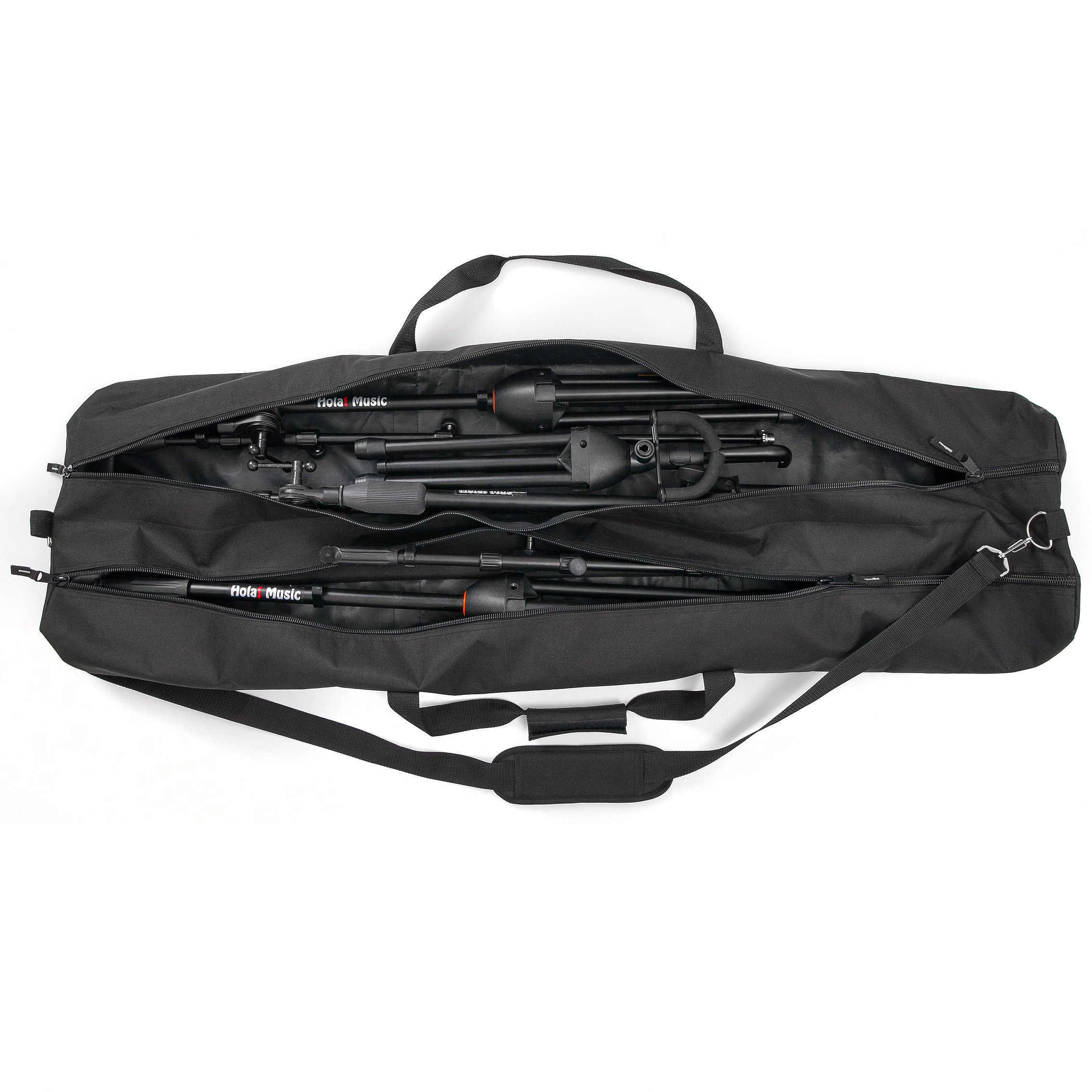 Speaker and Microphone Stand Gig Bag by Hola! Music, Dual Compartment, 50 Inch Long with Shoulder Strap by Hola! Music
