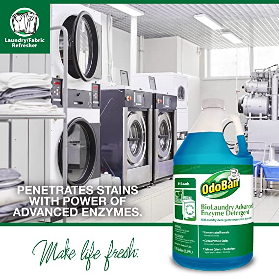 Amazon.com: OdoBan Professional Cleaning and Odor Control Solutions, 1 Gal Eucalyptus Odor Eliminator Disinfectant and 1 Gal BioLaundry Advanced Enzyme ...