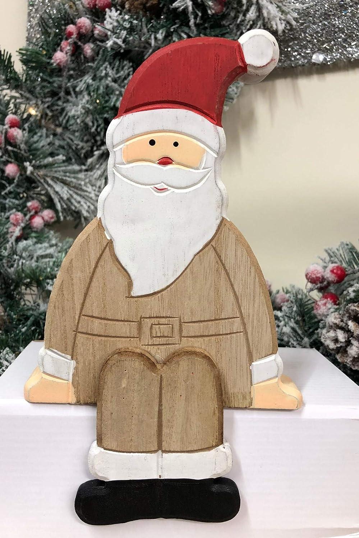 Estante de madera natural con dise/ño de Pap/á Noel Mezzaluna Gifts