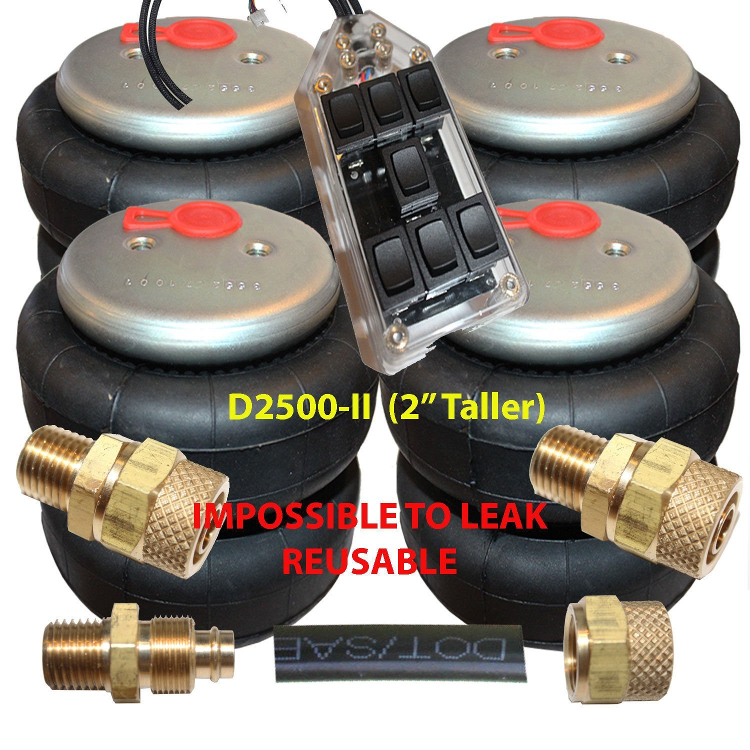 Chassis Tech Air Ride Suspension 4 Denominator-I 2600lb Air Bags 1//2 npt 3//8 Airline