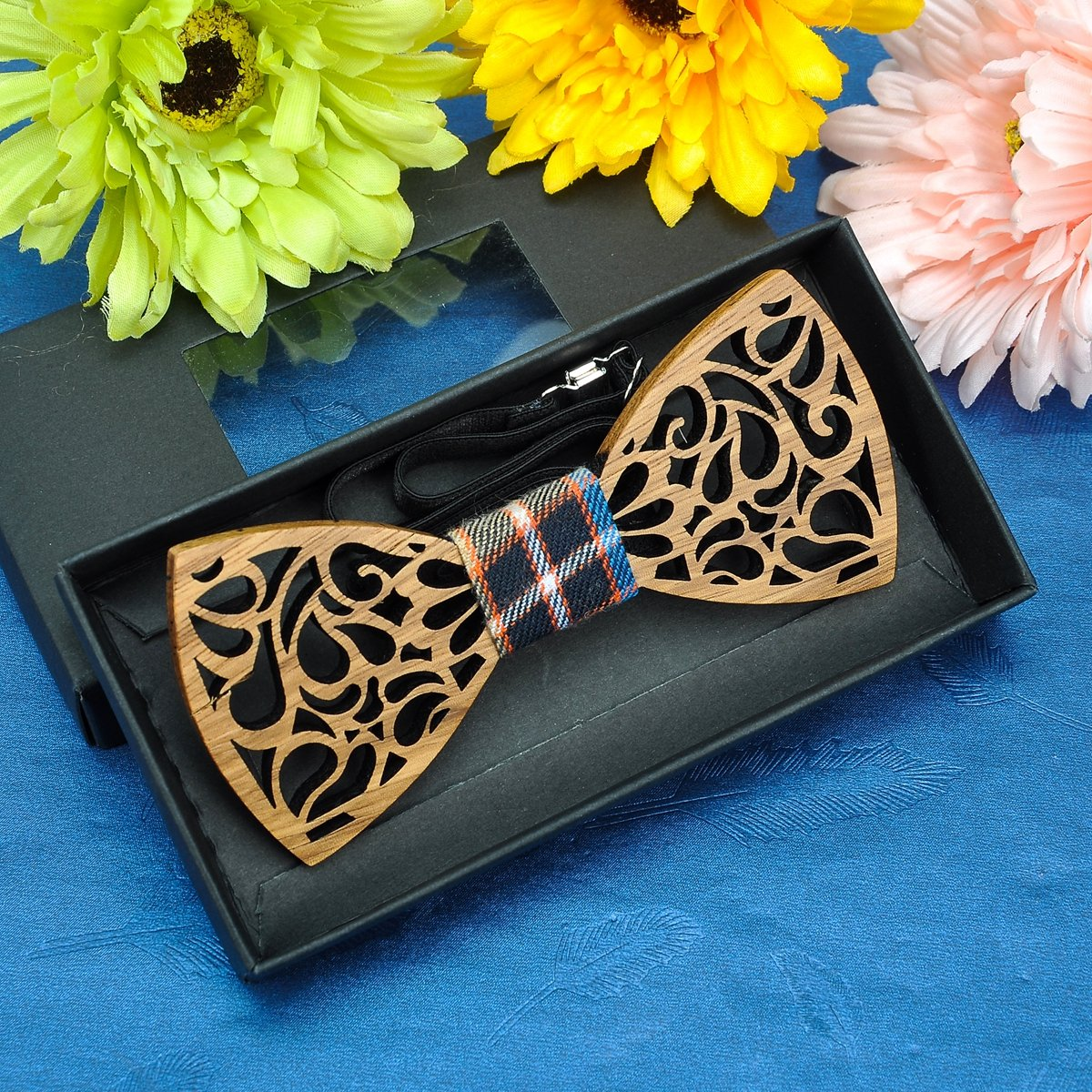 Tornado Vintage Pattern Mens Wood Bow Tie Adjustable Strap Handmade Wedding Prom Party Wooden Bowtie with Box