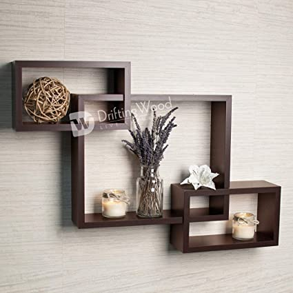 Driftingwood Wooden Intersecting Wall Shelves Shelf For Living Room