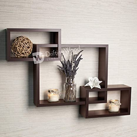 Driftingwood Wooden Intersecting Wall Shelves Shelf For Living Room