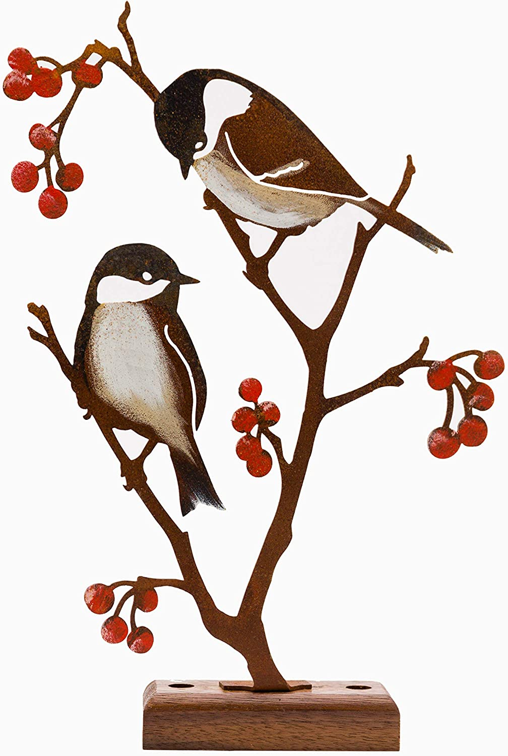 Rustic Metal Yard Art - Hand-Painted Chickadees & Berries - Inspired by Nature - Fine Addition to Any Planter - Unique Gift for Garden Enthusiasts