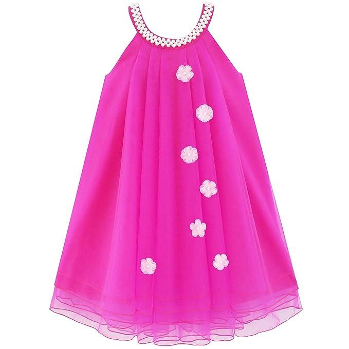Sunny Fashion Vestido para niña Flor Halter Perla Fiesta Boda ...