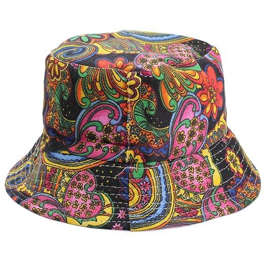 66f1bbda0ea317 SODIAL(R) Women Flower Bucket Hat Boonie Hunting Fishing Outdoor Cap ...
