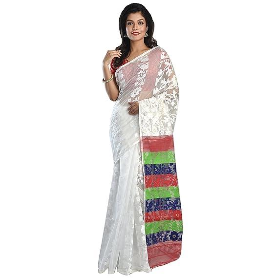 Soma's Boutique White Dhakai Jamdani, Phulia Saree For