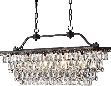 Edvivi 4 Light Antique Bronze Rectangular Linear Crystal Chandelier Dining Room Ceiling Fixture Glam Lighting Amazon Com