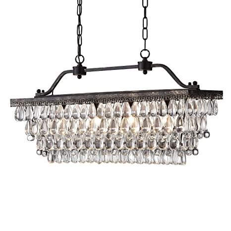 Edvivi 4 Light Antique Bronze Rectangular Linear Crystal Chandelier Dining Room Ceiling Fixture Light | Glam Lighting by Edvivi