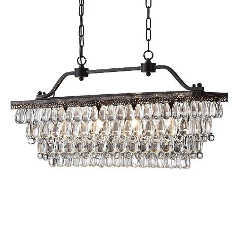 Edvivi 4 Light Antique Bronze Rectangular Linear Crystal Chandelier Dining Room Ceiling Fixture Light | Glam Lighting by Edvivi