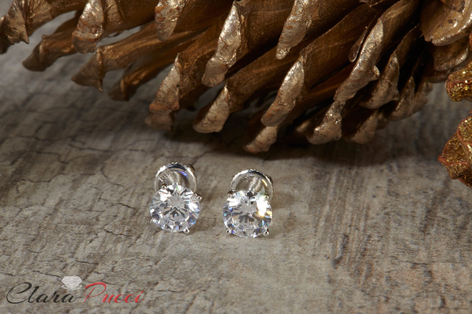 1.50 ct Brilliant Round Cut Solitaire Highest Quality Moissanite Ideal VVS1 D Anniversary gift Stud Earrings Real Solid 14k White Gold Screw Back by Clara Pucci (Image #2)