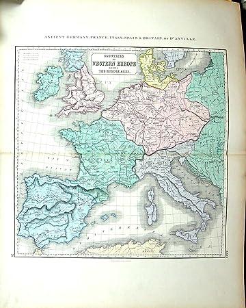 Deutschland Frankreich Karte.Philip Antiken Karte C1855 Altes Deutschland Frankreich Italien