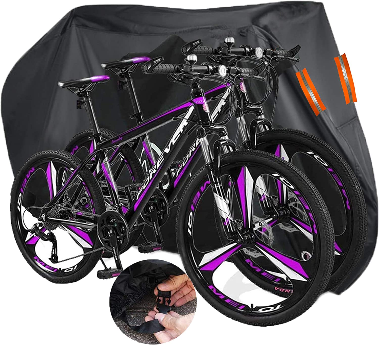 Indeed BUY Bike Cover for 2 or 3 Bikes Waterproof Bicycle Cover Outdoor Bike Storage Covers XL XXL 420D Heavy Duty Rain Sun UV Dust Wind Proof for Mountain Road Electric Bike etc