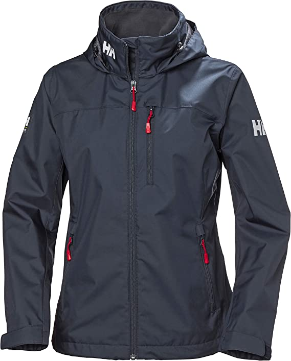 This is an image of the Helly-Hansen Womens Crew Waterproof Jacket with hood, in black color.
