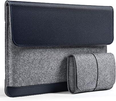 HOMIEE Bolso para Laptop Fieltro y Bolsa de Cuero PU, Estuche Protector para MacBook Pro/Acer/DELL/Lenovo/HP/Chromebook Maletín Portátil para Negocios Ultra Delgado de 15.6 Pulgadas Azul: Amazon.es: Electrónica