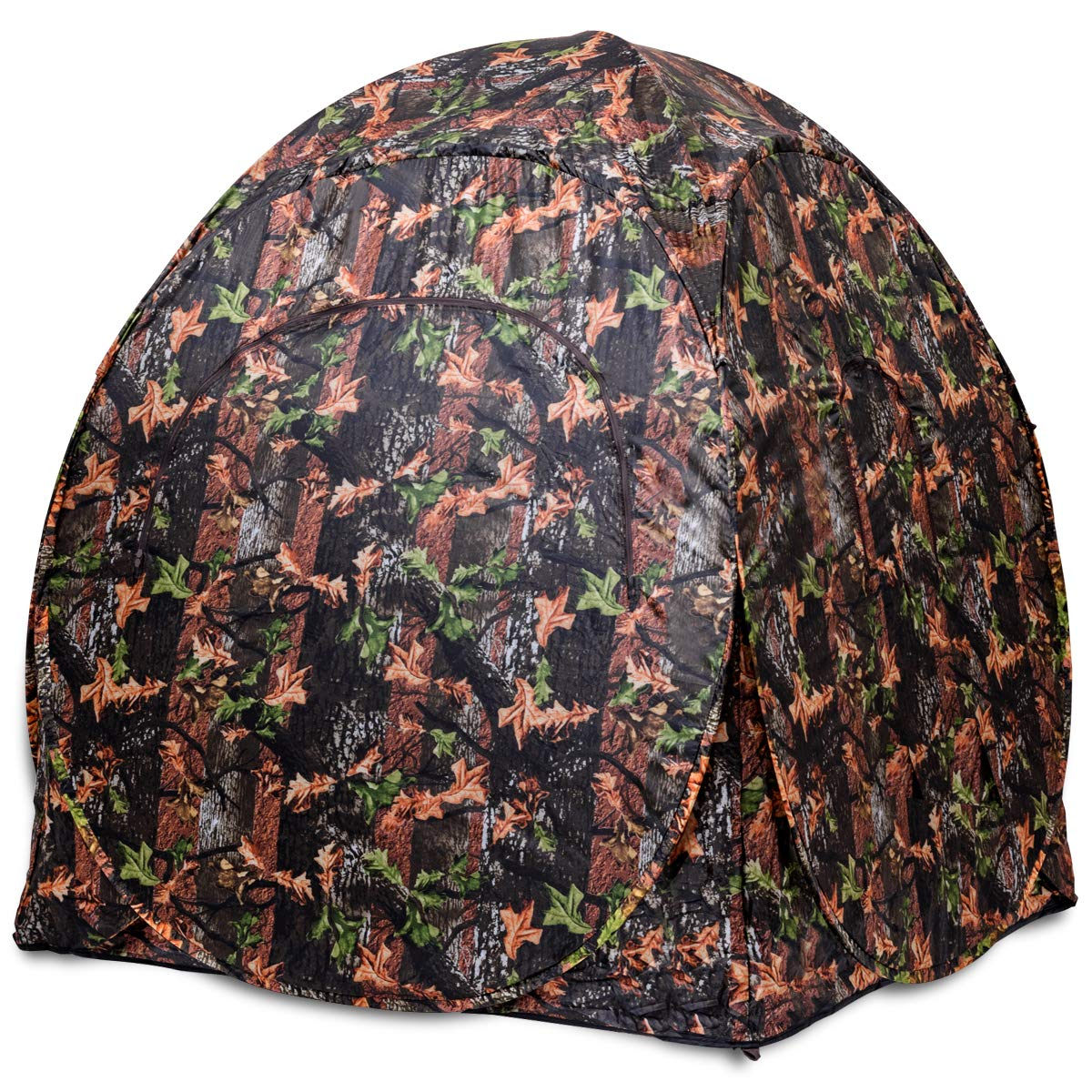 Tangkula Hunting Tent Portable Hunting Blind Pop Up Ground Blind 2-3 People Camo Waterproof with Backpack Hunting Enclosure by Tangkula (Image #7)