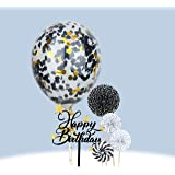 Restards Happy Birthday Cake Topper, A Series of Black Paper Fans Confetti Balloon Acrylic Birthday Cupcake Topper…