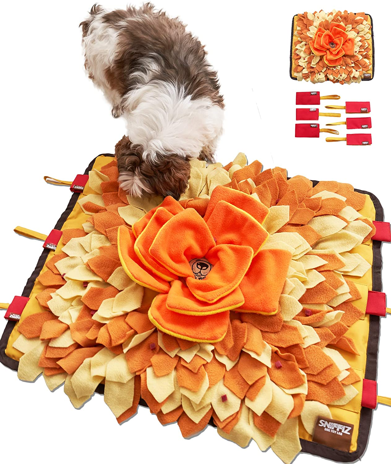 Sniffiz SmellyMatty Snuffle Mat for Dogs - Interactive Food IQ Enrichment Puzzle Toy Package (Large Nosework Orange Mat + Mini Treat Puzzles X 6) - Mind Stimulating Brain Games for Boredom