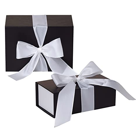 Jillson Roberts 2-Count Large Ribbon-Tie Gift Boxes Available in 4 Colors,  Black Matte with White Ribbon