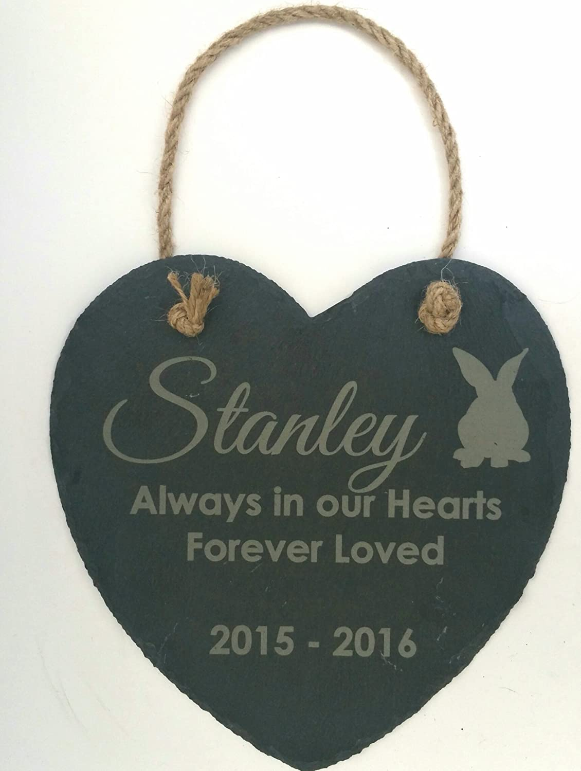 Personalised Hanging Engraved Heart Shape Natural Slate Pet Memorial Grave Marker Plaque Legacy Lasercrafts