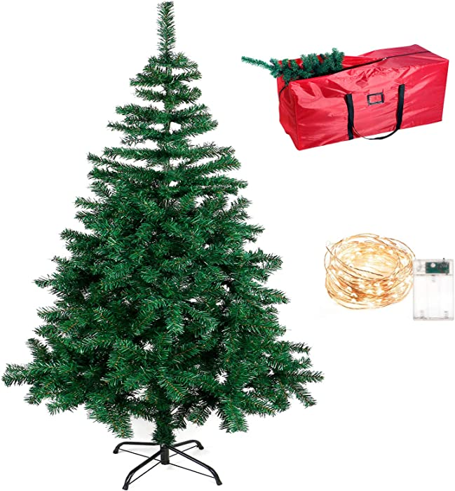 QUIENKITCH Artificial Christmas Tree 6 FT Xmas Pine Tree w/ 33 FT LED String Lights, Metal Stand, Waterproof Storage Bag,Perfect for Indoor Outdoor Holiday Decor