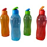 Tupperware Aquasafe Plastic Fliptop Bottle Set, 1 Litre, Set of 4, Multicolour