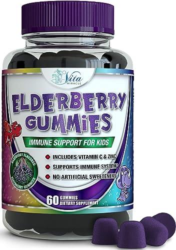 Sambucus Elderberry Gummies for Kids with Vitamin C and Zinc Immune Support Booster Gummy Organic Vegan All Natural