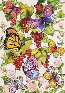Toland Home Garden Vineyard Fruit 12.5 x 18 Inch Decorative Colorful Spring Summer Butterfly Grape Vine Flower Garden Flag