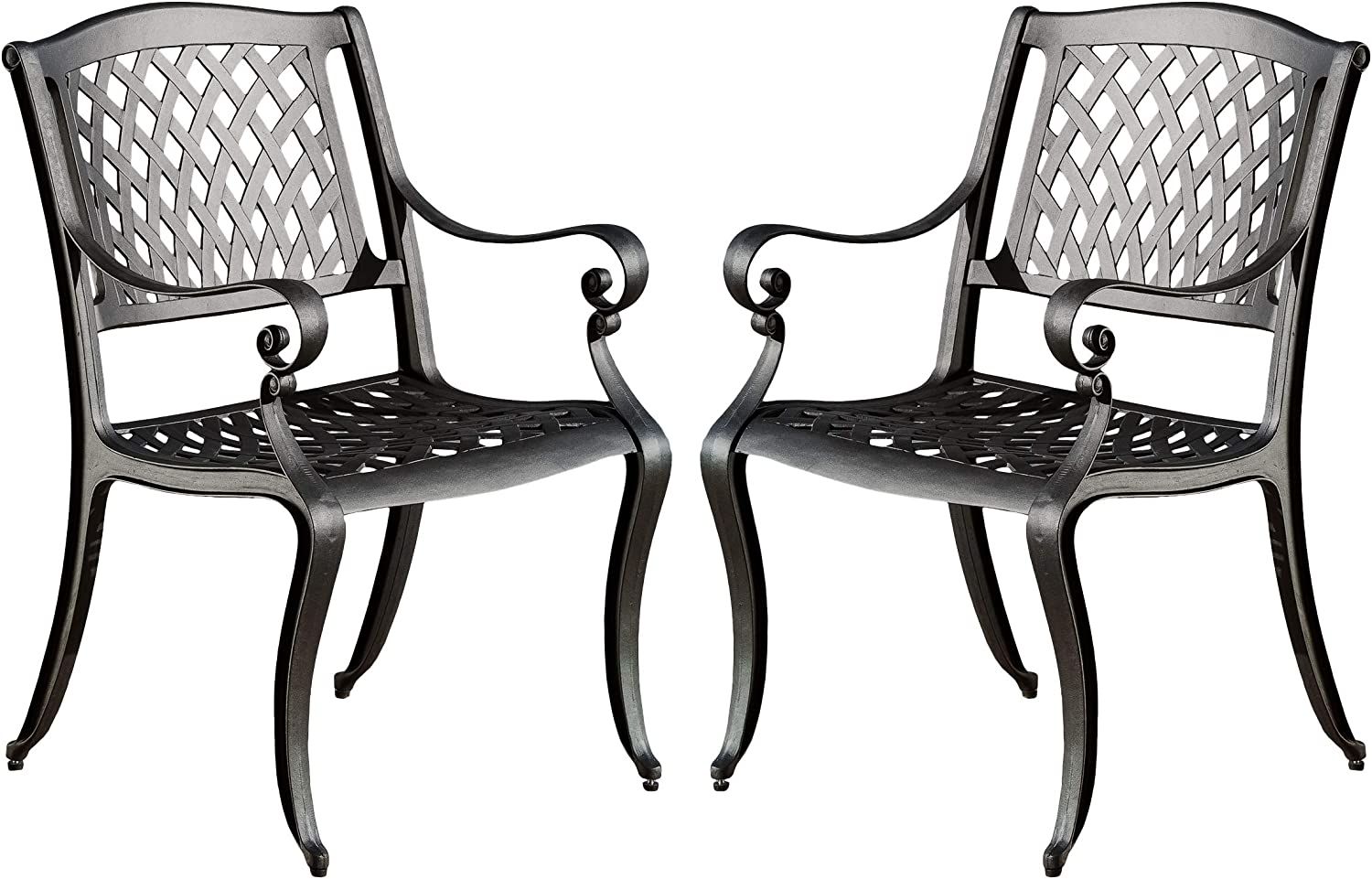 Christopher Knight Home Hallandale Outdoor Cast Aluminum Chairs, 2-Pcs Set, Black Sand: Garden & Outdoor