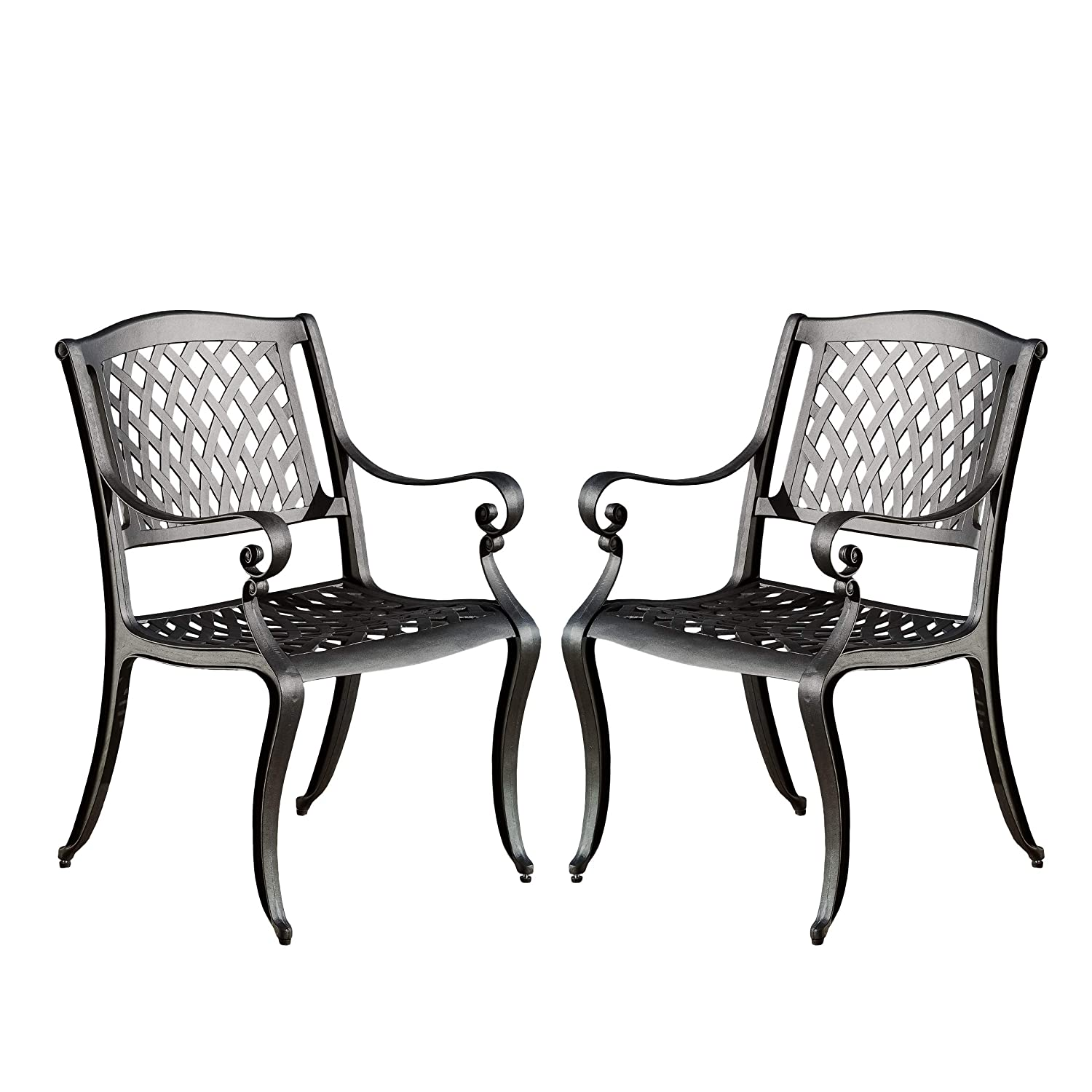 Amazon com christopher knight home marietta outdoor cast aluminum dining chairs set of 2 garden outdoor