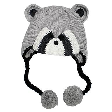 782bfbeb011 Amazon.com  Huggalugs Boys or Girls Bandit Raccoon Earflap Beanie ...