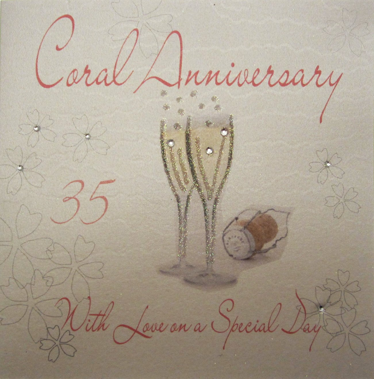keep calm 35th coral wedding anniversary wine bottle label