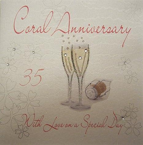 Immagini Anniversario Di Matrimonio 35 Anni.White Cotton Cards Wa30 Biglietto Di Auguri Realizzato A