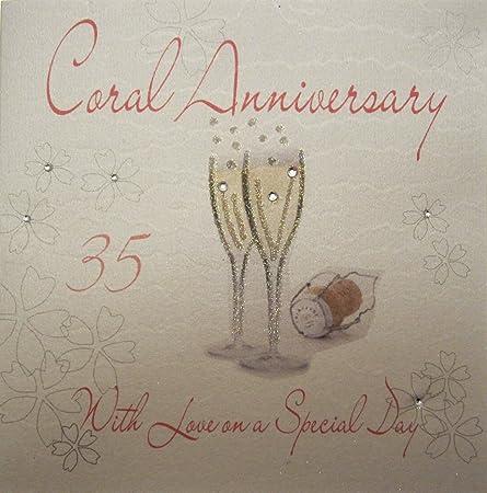 Anniversario 35 Matrimonio.White Cotton Cards Wa30 Biglietto Di Auguri Realizzato A Mano